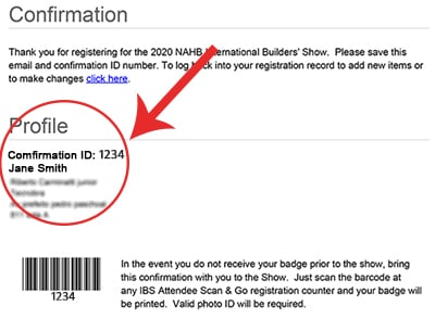 IBS attendee confirmation email