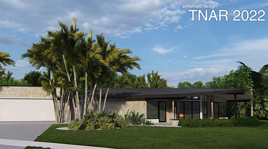 Tan one story house with large windows and palms trees